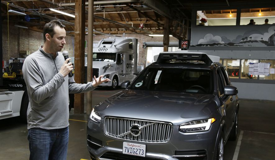 In this photo taken Tuesday, Dec. 13, 2016, Anthony Levandowski, head of Uber's self-driving program, speaks about their driverless car in San Francisco. Uber is bringing a small number of self-driving cars to its ride-hailing service in San Francisco - a move likely to both excite the citys tech-savvy population and spark a conflict with California regulators. The Wednesday, Dec. 14, launch in Ubers hometown expands a public pilot program the company started in Pittsburgh in September. (AP Photo/Eric Risberg)