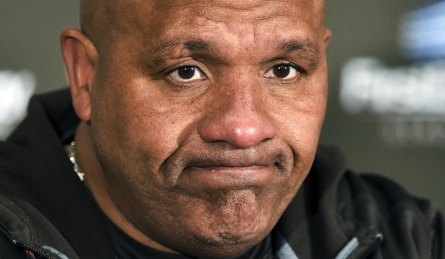 FILE - In this Nov. 20, 2016, file photo, Cleveland Browns head coach Hue Jackson holds a post game meeting with reporters following an NFL football game against the Pittsburgh Steelers, in Cleveland. The Detroit Lions are the only team to go 0-16 in a season, but Cleveland is three losses from matching that infamous feat. (AP Photo/David Richard, File)
