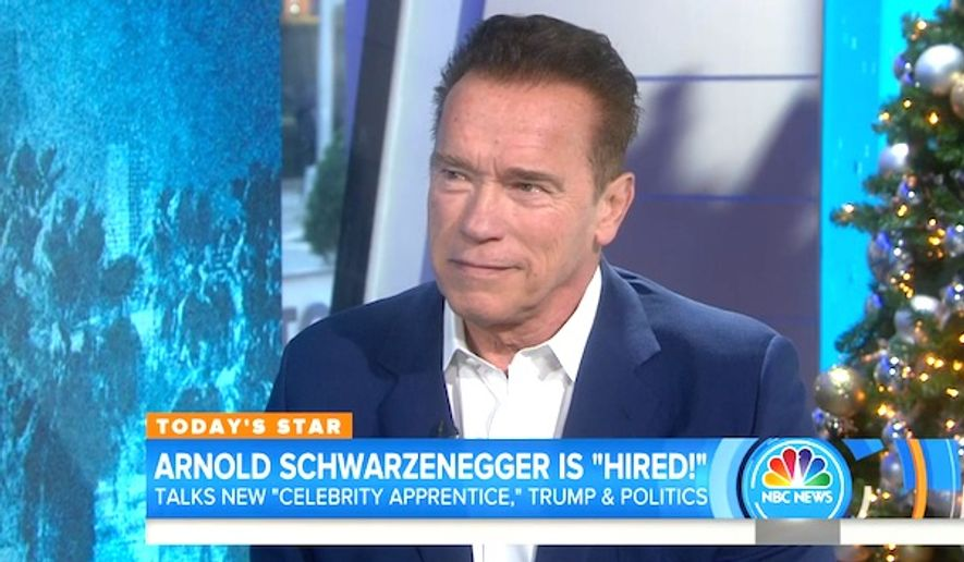 "Arnold Schwarzenegger appears on NBC's ""Today"" show on Thursday, Dec. 15, 2016. (NBC screenshot)"