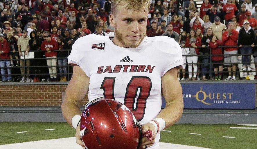 FILE - In this Sept. 3, 2016, file photo, Eastern Washington wide receiver Cooper Kupp (10) walks off the field after Eastern Washington won an NCAA college football game against the Washington State, in Pullman, Wash. Kupp has been selected to The Associated Press FCS All-America team for the fourth straight season, making the first team with fellow Walter Payton Award finalist Jeremiah Briscoe of Sam Houston State. The AP FCS All-America team was released Thursday, Dec. 15, 2016.  (AP Photo/Young Kwak, File)
