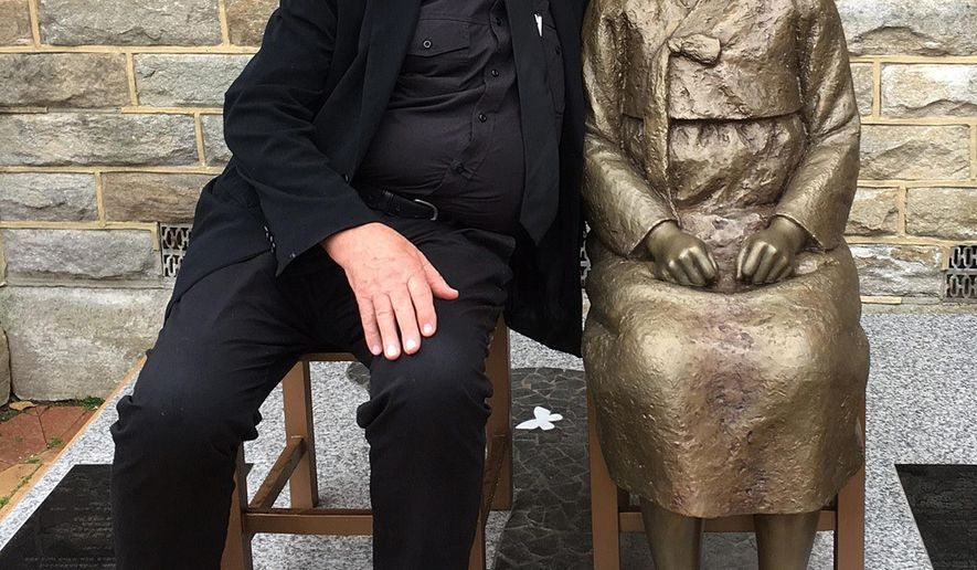 In this Aug 6. 2016 photo supplied by Jayne Duncan, Uniting Church minister Bill Crews poses for a photo with a statue erected as a memorial to sex slaves of Japan's World War II army in Sydney, Australia. A Japanese-Australian community leader said on Thursday, Dec. 15, 2016, he had filed a complaint of racial discrimination against a Sydney church that he alleged intimidated Japanese nationals by erecting a memorial to sex slaves of Japan's World War II army. (Jayne Duncan via AP)
