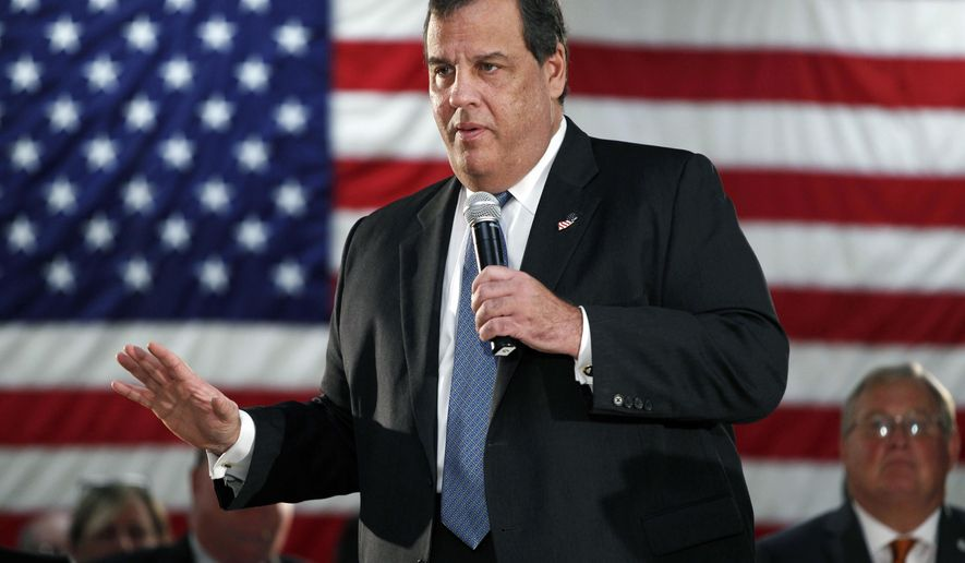 FILE - In this Oct. 18, 2016, file photo, New Jersey Gov. Chris Christie addresses a gathering at a public forum in New Providence, N.J. Newspapers in New Jersey and political opponents say Christie is targeting the media organizations by pushing a measure to allow state and local governments to post public notices on their own websites, rather than in the print publications. State and local government agencies across the country are required to post legal notices for public meetings, contract bids and other matters. Legislative committees are scheduled to vote on a bill on Thursday, Dec. 15, 2016. (AP Photo/Mel Evans, File)