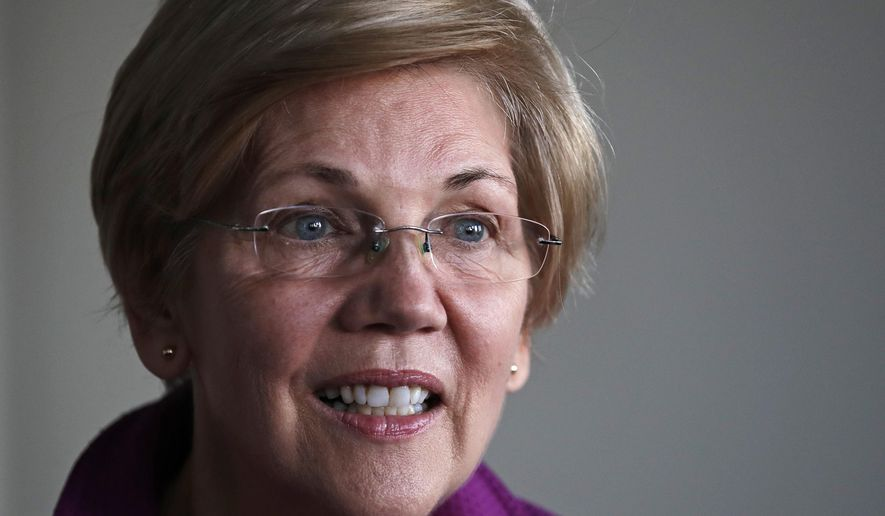 Sen. Elizabeth Warren, D-Mass. listens to a question during an interview at her office in Boston, Thursday, Dec. 15, 2016. (AP Photo/Charles Krupa)