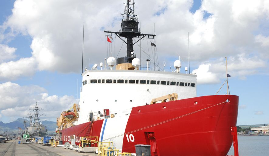 In this Monday, Dec. 12, 2016 file photo, the U.S. Coast Guard Cutter Polar Star rests by a dock in Pearl Harbor, Hawaii.  (AP Photo/Audrey McAvoy)  **PHOTO**