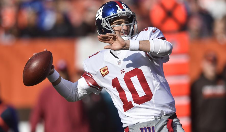 FILE  - In this Sunday, Nov. 27, 2016 file photo, New York Giants quarterback Eli Manning throws in the first half of an NFL football game against the Cleveland Browns in Cleveland. The Lions are riding a five-game winning streak that has given them a two-game lead over Minnesota and Green Bay in the NFC North. The Giants are two games behind Dallas (11-2) in the NFC East but they hold a one-game lead in the wildcard race after winning seven of eight. The Giants play the Detroit Lions on Sunday, Dec. 18, 2016. (AP Photo/David Richard, File)