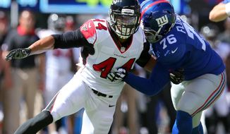 FILE - In this Sept. 20, 2015, file photo, Atlanta Falcons defensive end Vic Beasley Jr. (44) tries to get around New York Giants offensive tackle Ereck Flowers during an NFL game at MetLife Stadium in East Rutherford, N.J. The Falcons play the San Francisco 49ers on Sunday, Dec. 18, 2016. (AP Photo/Brad Penner) ** FILE **