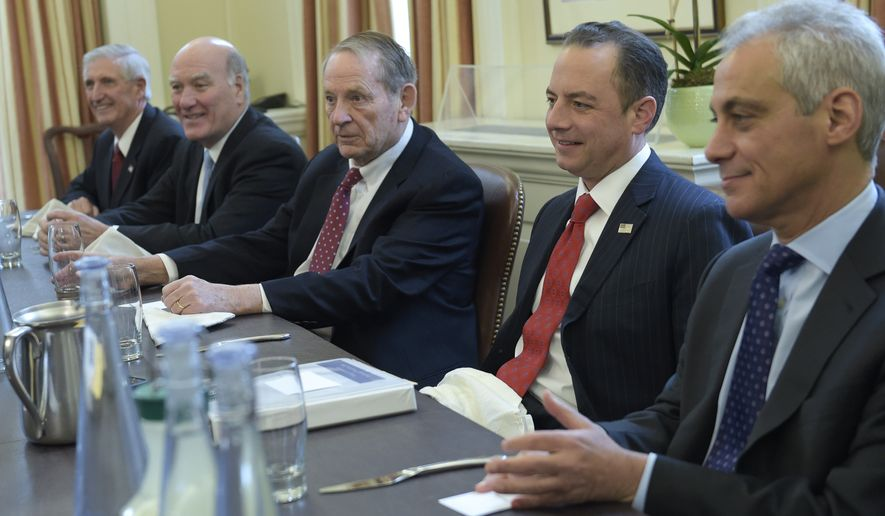 President-elect Donald Trump's incoming White House Chief of Staff Reince Priebus, second from right, attends a meeting with former White House Chiefs of Staff in the office of current White House Chief of Staff Denis McDonough at the White House in Washington, Friday, Dec. 16, 2016. From left are, Andrew Card, Bill Daley, Samuel Skinner, Priebus and Rahm Emanuel. (AP Photo/Susan Walsh)