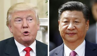 This combination of two 2016 file photos shows, U.S. President-elect Donald Trump, left, talking with President Barack Obama at White House in Washington, U.S.A. on Nov. 10, and China's President Xi Jinping arriving at La Moneda presidential palace in Santiago, Chile, on Nov. 22. (AP Photo/Pablo Martinez Monsivais, Luis Hidalgo, Files) **FILE**