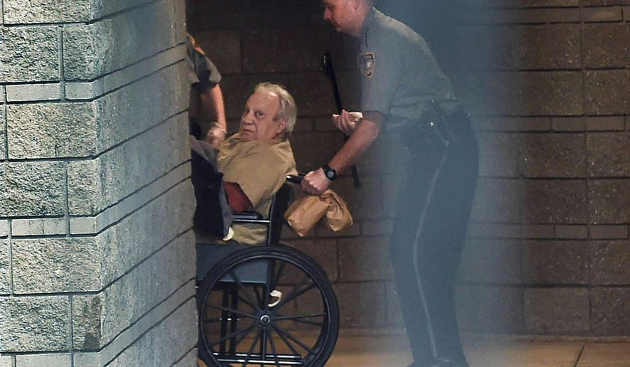 FILE -  In this April 20, 2015, file photo, Robert Gentile is brought into the federal courthouse in a wheelchair for a continuation of a hearing in Hartford, Conn. Gentile has been transferred to a federal hospital prison in North Carolina because of his failing health. The FBI believes the convict, with a criminal record dating to the 1950s, knows something about the 1990 theft of $500 million in art from Boston's Isabella Stewart Gardner Museum. The 13 pieces of art stolen from the Boston museum have never been found and nobody has been charged in the robbery. (Cloe Poisson /Hartford Courant via AP, File)