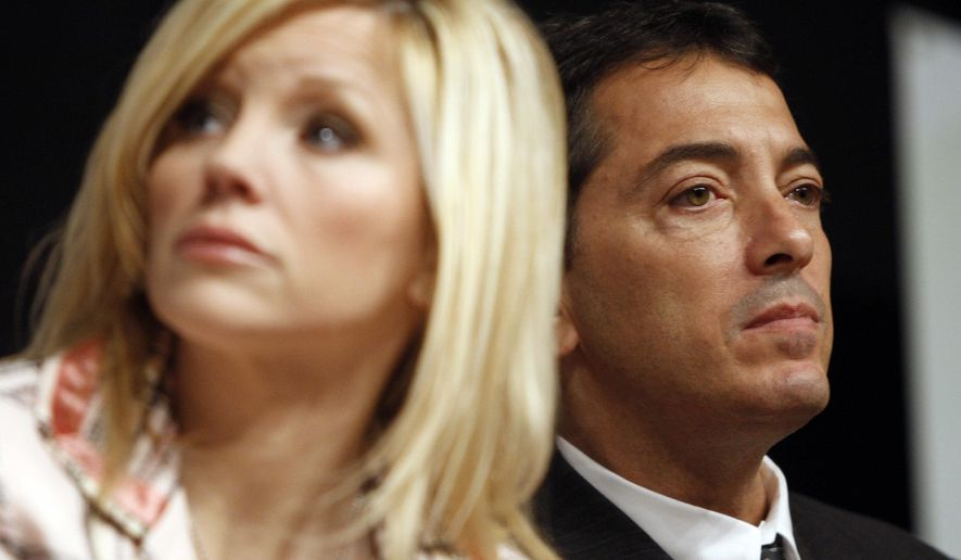 FILE - In this Sept. 5, 2008, file photo, actor Scott Baio, right, and his wife, Renee, are seen during a news conference to kick off National Newborn Screening Awareness Month in Los Angeles. Renee Baio alleged on Twitter Thursday, Dec. 15, 2016, that her husband was assaulted over his support of by Nancy Mack, the wife of Red Hot Chili Peppers drummer Chad Smith. (AP Photo/Matt Sayles, File)