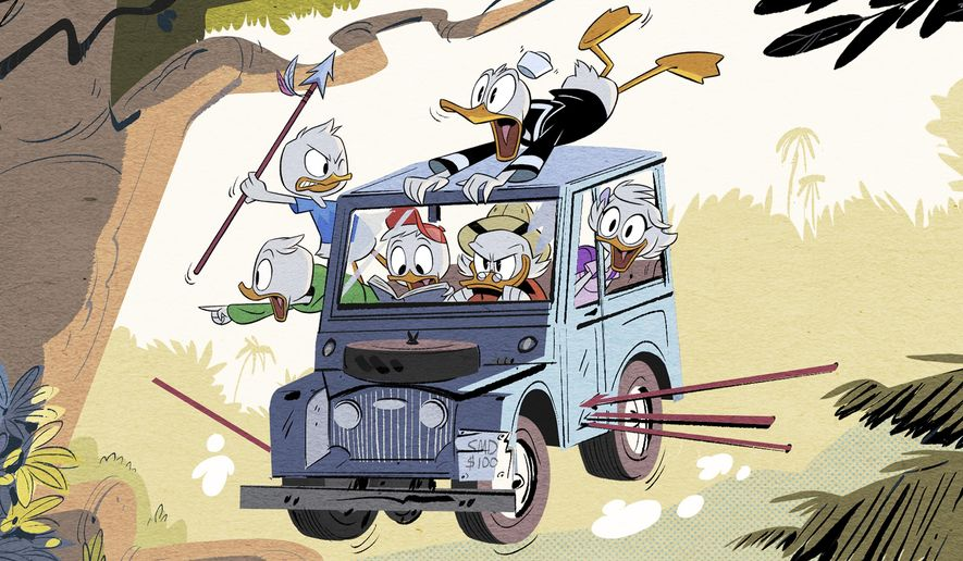 "This image released by Disney XD shows a scene from Disney's ""DuckTales,"" an all-new animated comedy series based on the Emmy Award-winning series starring Scrooge McDuck and his grandnephews Huey, Dewey and Louie, and Donald Duck. The series is set to debut in 2017 on Disney XD. (Disney XD via AP)"