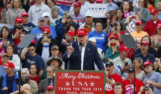 President-elect Donald Trump speaks during a rally at the LaddPeebles Stadium, Saturday, Dec. 17, 2016, in Mobile, Ala. (AP Photo/Brynn Anderson) ** FILE **
