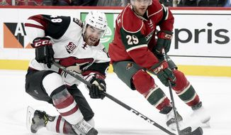 Arizona Coyotes left wing Jordan Martinook (48) and Minnesota Wild right wing Jason Pominville (29) go after the puck during the second period of an NHL hockey game Saturday, Dec. 17, 2016, in St. Paul, Minn. (AP Photo/Hannah Foslien)