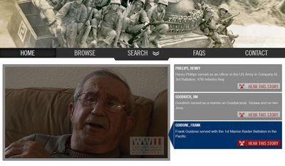 This screenshot provided by the National World War II Museum shows the home page of the National World War II Museum's new online archive project, in New Orleans, Friday, Dec. 16, 2016. Executives at the museum say creating a vast online collection of 9,000 existing oral and written histories will take longer than the war was fought: 10 years and $11 million dollars. The task is enormous: thousands of hours of audio and video must be handled and millions of words transcribed. Ultimately, all these firsthand accounts of Pearl Harbor, the D-Day invasion, Germany's surrender, Hiroshima, the homefront and more will be online. (National World War II Museum via AP)