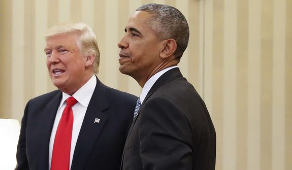 President Barack Obama meets with President-elect Donald Trump in the Oval Office of the White House in Washington on Nov. 10, 2016. (Associated Press) **FILE**