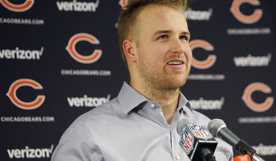 Chicago Bears quarterback Matt Barkley (12) speaks at a news conference after an NFL football game against the Green Bay Packers, Sunday, Dec. 18, 2016, in Chicago. The Packers won 30-27. (AP Photo/Nam Y. Huh)