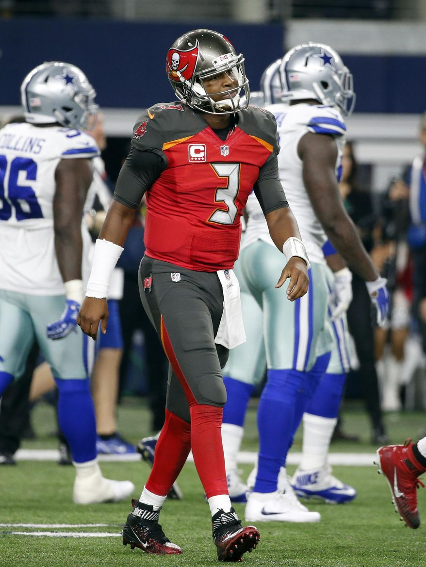 Tampa Bay Buccaneers' Jameis Winston (3) walks off the ...