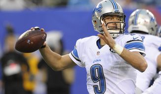 Detroit Lions quarterback Matthew Stafford (9) throws a pass during the second half of an NFL football game against the New York Giants Sunday, Dec. 18, 2016, in East Rutherford, N.J. (AP Photo/Bill Kostroun)