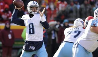 Tennessee Titans quarterback Marcus Mariota (8) throws during the first half of an NFL football game against the Kansas City Chiefs in Kansas City, Mo., Sunday, Dec. 18, 2016. (AP Photo/Charlie Riedel)