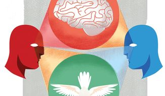 Illustration on changing the mindset of young Israelis and Palestinians by Linas Garsys/The Washington Times