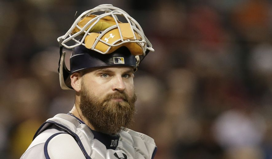 San Diego Padres catcher Derek Norris (3) in the first inning during a baseball game against the Arizona Diamondbacks, Saturday, Oct. 1, 2016, in Phoenix. (AP Photo/Rick Scuteri) **FILE**