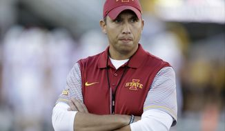 FILE - In this Sept. 10, 2016, file photo, Iowa State head coach Matt Campbell stands on the field before an NCAA college football game against Iowa, in Iowa City, Iowa. Iowa State's defensive line will have a new look next year after the Cyclones signed three highly-ranked junior college players. (AP Photo/Charlie Neibergall, File)