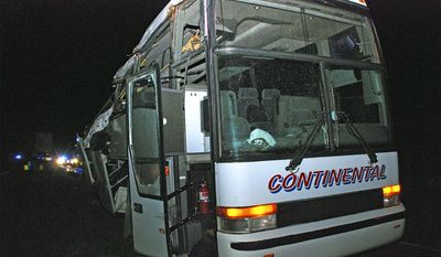 ADVANCE FOR USE FRIDAY, DEC. 23, 2016 AND THEREAFTER-In this Nov. 6, 2015 photo provided by the Arkansas State Police, a motor coach sits in a lot following an accident that left six migrant farmworkers dead, including Jose Rangel Chavez, and seven injured. The H-2A guest workers were on their way back to Mexico when the bus hit a concrete support on Interstate 40 in North Little Rock. When the crash investigations began, a pattern of alleged safety violations by Vasquez Citrus & Hauling of Lake Placid, Fla., emerged. (Arkansas State Police via AP)