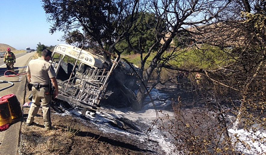 ADVANCE FOR USE FRIDAY, DEC. 23, 2016 AND THEREAFTER-This Aug. 11, 2016 photo provided by the Santa Barbara County Fire Department shows a converted school bus carrying more than two dozen farmworkers which crashed in a rural part of Santa Barbara County and burst into flames, fire officials said. Six people were injured and taken to a hospital, according to Capt. Dave Zaniboni of the Santa Barbara County Fire Department. (Santa Barbara County Fire Department via AP)