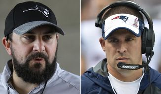 FILE - At left, in a July 27, 2016, file photo, New England Patriots defensive coordinator Matt Patricia takes questions from members of the media at Gillette Stadium in Foxborough, Mass. At right, in an Oct. 9, 2016, file photo, New England Patriots offensive coordinator Josh McDaniels walks on the sideline during an NFL football game against the Cleveland Browns, in Cleveland. Patriots coordinators Josh McDaniels and Matt Patricia have been considered among the best minds in football for a while now. The jobs they're doing this season _ their latest gems came in a 16-3 victory over the Broncos on Sunday _ have only bolstered their standing. (AP Photo/File)
