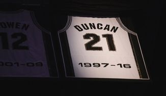 San Antonio Spurs legend Tim Duncan's banner is revealed during his jersey retirement ceremony Sunday, Dec. 18, 2016, in San Antonio. (AP Photo/Darren Abate)