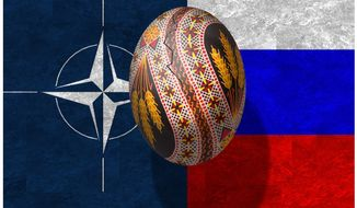 Illustration on the NATO/Russia conflict behind Ukraine division by Alexander Hunter/The Washington Times