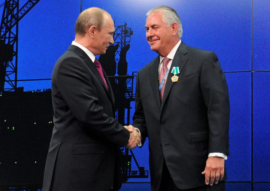 "Russian President Vladimir Putin has met with Exxon Mobil CEO Rex Tillerson on several occasions. An official at the Kremlin said Mr. Tillerson, nominated to be secretary of state, is ""known to everyone"" in the top ranks of the Russian government. (Associated Press)"