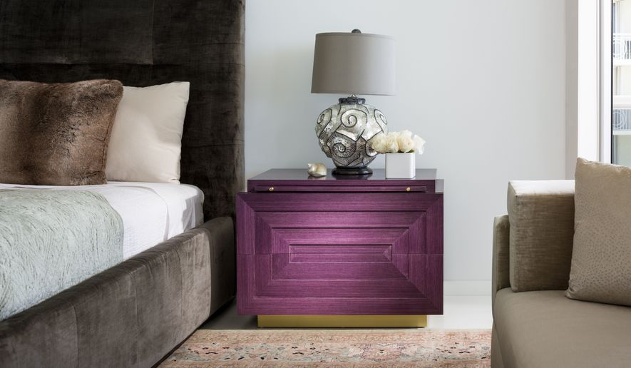 This Photo Provided By Brown Davis Interiors Shows A Rich Purple Console Inside A Penthouse Apartment