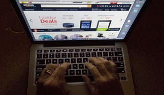 In this Monday, Dec. 12, 2016, photo, an online shopper searches a site, while logged in from Miami. Procrastinating holiday shoppers are finding a haven online with expedited shipping and same-day delivery services. (AP Photo/Wilfredo Lee)