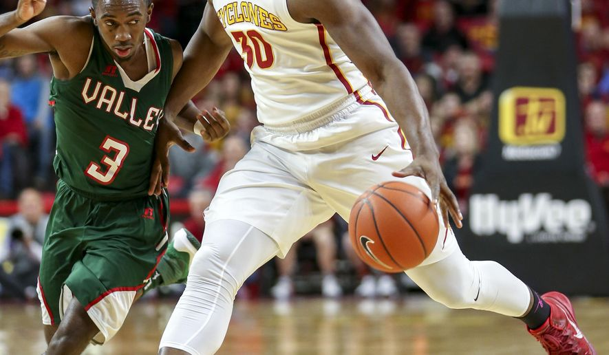 Iowa State guard Deonte Burton drives past Mississippi Valley State guard Darrell Riley during the first half of an NCAA college basketball game, Tuesday, Dec. 20, 2016, in Ames, Iowa. (AP Photo/Justin Hayworth)