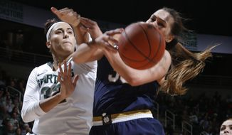 Michigan State's Taya Reimer, left, and Notre Dame's Kathryn Westbeld battle for a rebound during the first half of an NCAA college basketball game, Tuesday, Dec. 20, 2016, in East Lansing, Mich. (AP Photo/Al Goldis)
