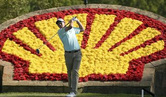 FILE - In this April 3, 2016, file photo, Jim Herman tees off on the 18th hole during the final round of the Houston Open golf tournament in Humble, Texas. Herman won the tournament. (AP Photo/Eric Christian Smith, File)