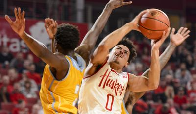 Nebraska guard Tai Webster (0) attempts a shot as Southern University forward Emanual Shepherd (2) defends during the first half of an NCAA college basketball game Tuesday, Dec. 20, 2016, in Lincoln, Neb. (Matt Ryerson/The Journal-Star via AP)