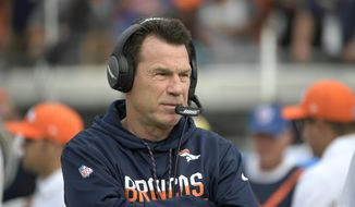 FILE - In this Sunday, Dec. 4, 2016 file photo, Denver Broncos head coach Gary Kubiak watches from the sidelines prior to the start of an NFL football game against the Jacksonville Jaguars in Jacksonville, Fla. The Denver Broncos have many regrets about their 30-27 overtime loss to Kansas City last month. Going for the gusto isn't among them. (AP Photo/Phelan M. Ebenhack, File)