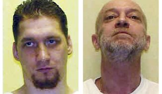 FILE - These undated file combination photo provided by the Ohio Department of Rehabilitation and Corrections shows death row inmates Ronald Phillips and Raymond Tibbetts. Ohio Gov. John Kasich turned down Phillips' request for mercy on Wednesday, Dec. 21, 2016. Phillips is scheduled for execution on Feb. 15, 2017. Kasich also granted a short reprieve to death row inmate Tibbetts, scheduled to die in February but now set for April 12. (AP Photo/Ohio Dept. of Rehabilitation and Corrections, File)