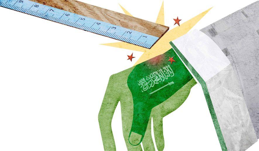 Saudi Hand Slap Illustration by Greg Groesch/The Washington Times