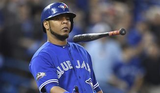 In this Wednesday, Oct. 19, 2016, file photo, Toronto Blue Jays' Edwin Encarnacion flips his bat after a foul ball against the Cleveland Indians during fourth inning in Game 5 of baseball's American League Championship Series in Toronto. (Frank Gunn/The Canadian Press via AP, File) **FILE**