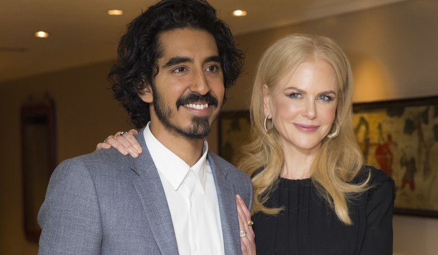 Actors Nicole Kidman, right and Dev Patel pose for photographers in a central London hotel following a BAFTA Q&A, after they were nominated for Best Supporting Actor roles for their film, 'Lion,' Thursday, Dec. 15, 2016. (Photo by Joel Ryan/Invision/AP)