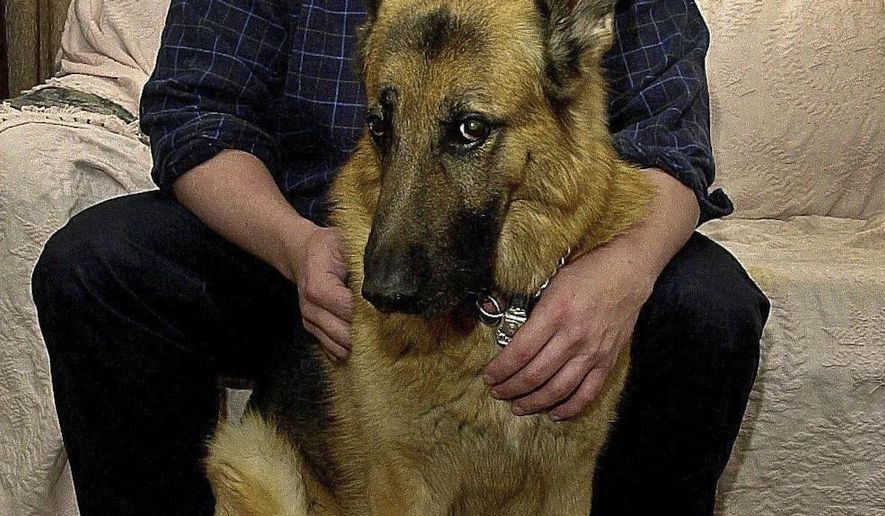 """In this Feb. 9, 2001 photo, former Briarcliff Manor Police officer Nick Tartaglione is shown at home with his former K-9 partner """"Angus"""". The retired police officer has been accused of killing four men who went missing during a drug deal this year, and authorities have discovered the remains of four bodies on property linked to him. Tartaglione was arrested on Monday, Dec. 19, 2016, on charges of murder and conspiracy to distribute 5 kilograms and more of cocaine, U.S. Attorney Preet Bharara said. (Stuart Bayer/The Journal News via AP)"""