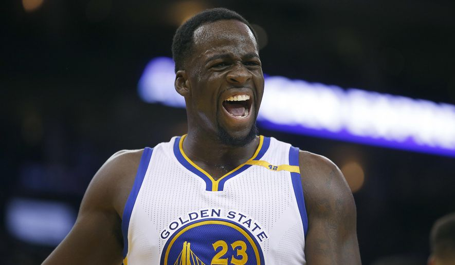 Golden State Warriors forward Draymond Green reacts after being called for a foul against the Utah Jazz during the second half of an NBA basketball game Tuesday, Dec. 20, 2016, in Oakland, Calif. The Warriors won 104-74. (AP Photo/Tony Avelar)