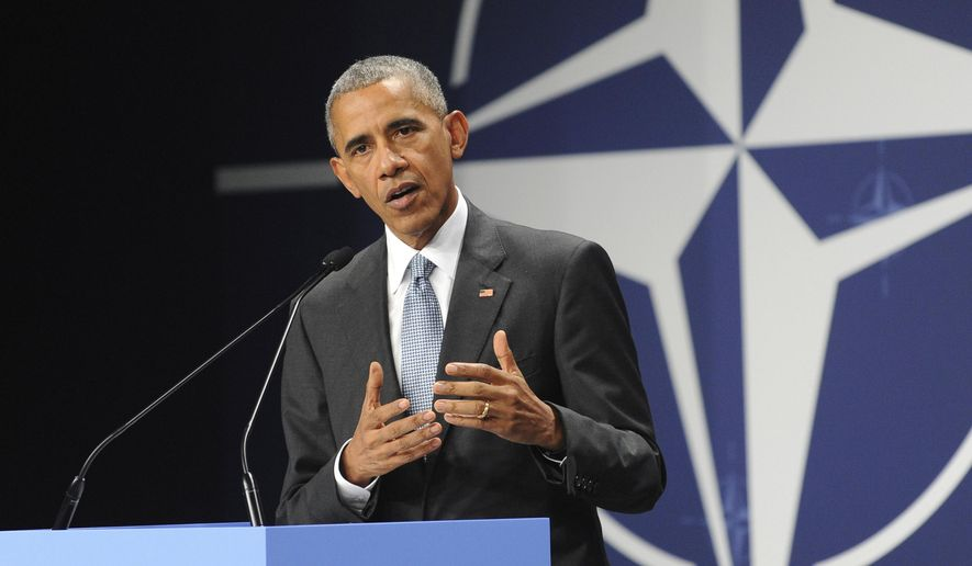 In this July 9, 2016, file photo, President Barack Obama speaks at the NATO Summit, in Warsaw, Poland. Obama's foreign policy legacy may be defined as much by what he didn't do as what he did. (AP Photo/Alik Keplicz, File)