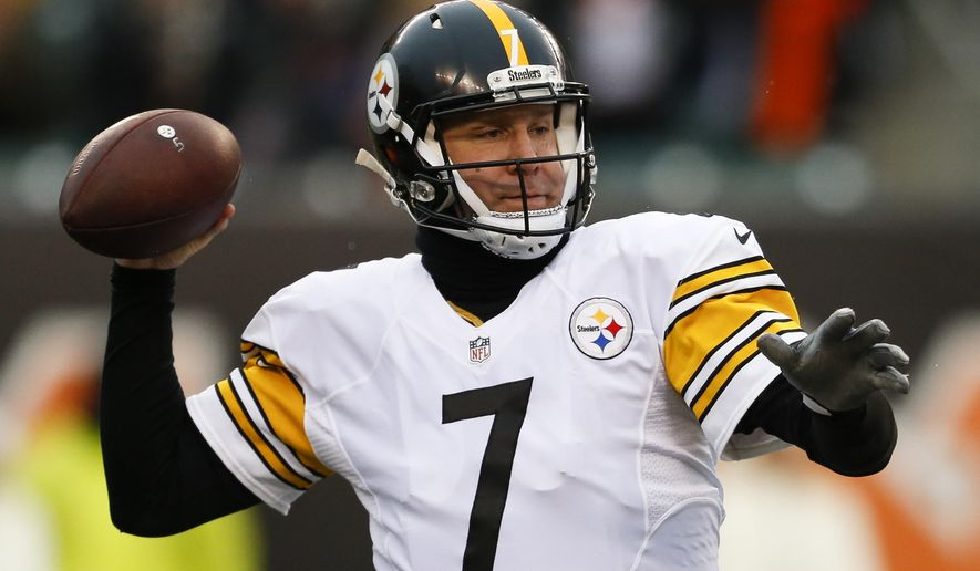 FILE - In this Dec. 18, 2016 file photo, Pittsburgh Steelers quarterback Ben Roethlisberger throws in the first half of an NFL football game against the Cincinnati Bengals, in Cincinnati. The Steelers will host the Baltimore Ravens on Sunday, Dec. 25. (AP Photo/Gary Landers, File)