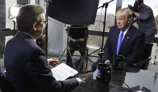 "FILE - In this Saturday, Dec. 10, 2016 file photo, President-elect Donald Trump, right, is interviewed by Chris Wallace of ""Fox News Sunday"" at Trump Tower in New York. Comparing the five weeks after the election to the white-hot campaign days of October 2016, Fox's prime-time audience is down 8 percent, the Nielsen company said. That's a much smaller drop than rivals CNN and MSNBC, and smaller than all of the networks historically following elections. (AP Photo/Richard Drew)"