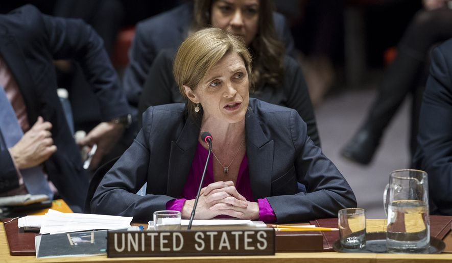 In this photo provided by the United Nations, Samantha Power, U.S. ambassador to the United Nations, addresses the United Nations Security Council, after the council voted on condemning Israel's settlements in the West Bank and east Jerusalem, Friday, Dec. 23, 2016, at United Nations Headquarters.  In a striking rupture with past practice, the United States allowed the U.N. Security Council on Friday to condemn Israel. (Manuel Elias/The United Nations via AP)