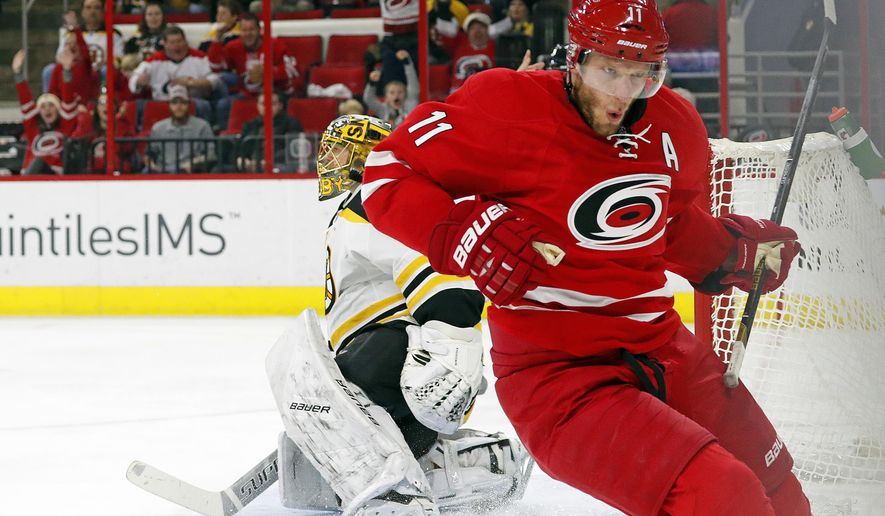 Carolina Hurricanes' Jordan Staal (11) celebrates scoring a short-handed goal against the Boston Bruins during the second period of an NHL hockey game, Friday, Dec. 23, 2016, in Raleigh, N.C. (AP Photo/Karl B DeBlaker)